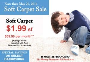 soft carpet sale May 2014