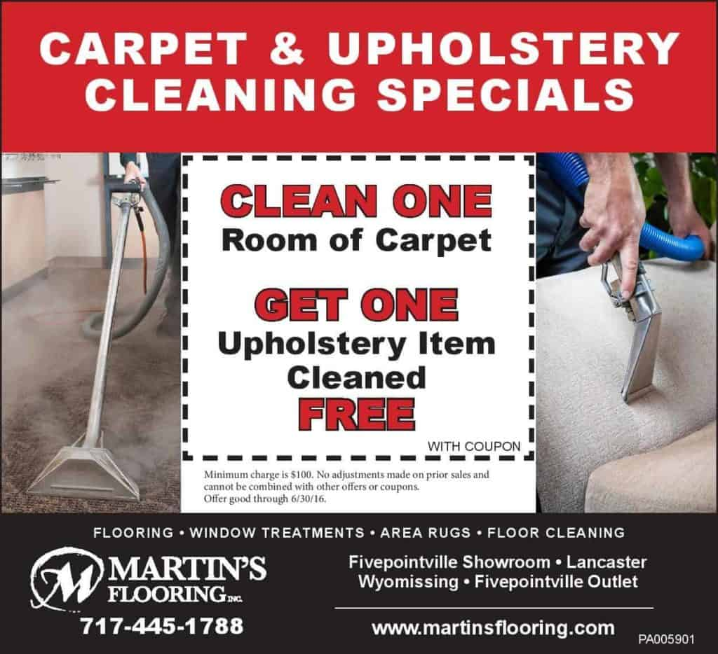 carpet and upholstery cleaning ad thru 6-30-16