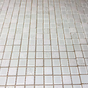 Stone and Glass Mosaic Tile, Snow White