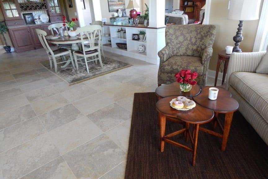 Kitchen Floor with Area Rug